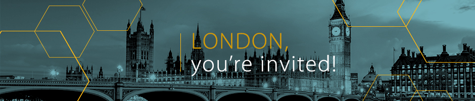 Photo of the city skyline, in black and blue, with overlay text London, you're invited