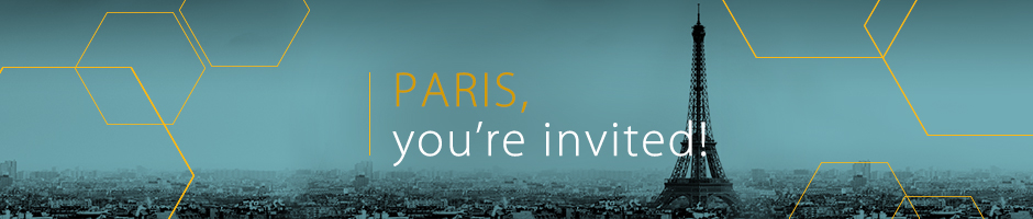Photo of the city skyline, in black and blue, with overlay text Paris, you're invited