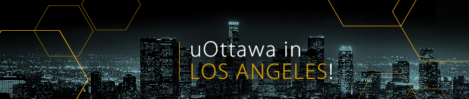 Photo of the city skyline, in black and blue, with overlay text uOttawa in Los Angeles