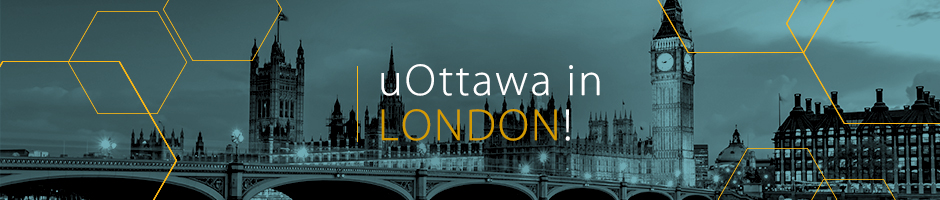 Photo of the city skyline, in black and blue, with overlay text uOttawa in London
