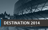 Image of Destination 2014 banner. Contain a duo tone image of the outside of the convention centre